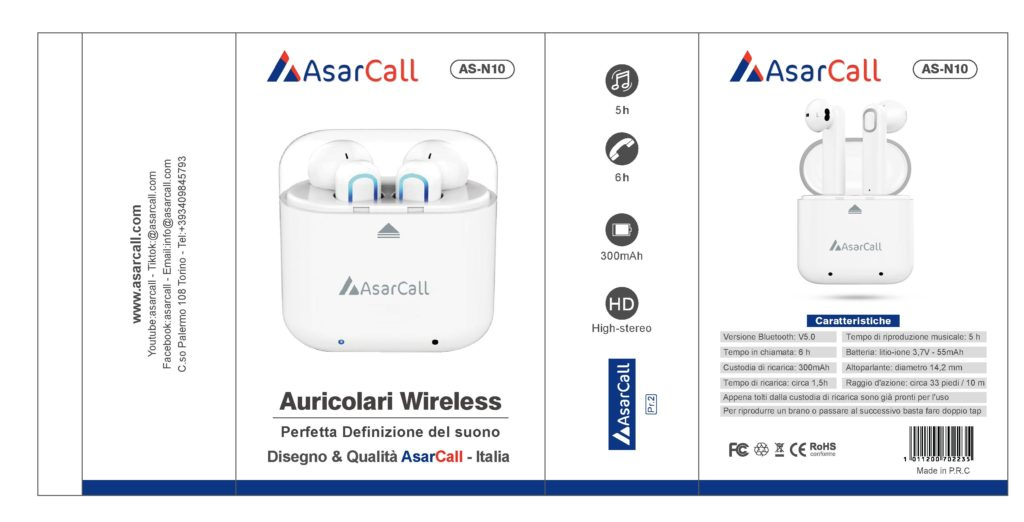AsarCall bluetooth AS-N10 White